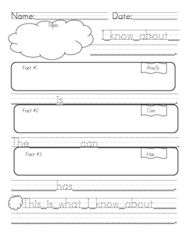 First Grade Informative/Explanatory Writing Graphic Organizer