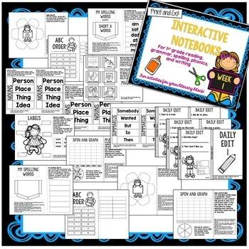 1st Grade Interactive Notebook Unit 1 {5 WEEKS} Short Vowels, Grammar, Reading