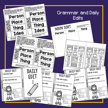 First Grade Interactive Notebook Week 1 Main Idea, Labels, Nouns, Short A