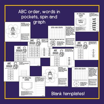 First Grade Interactive Notebook Week 4 Short E, Text Features, Adjectives
