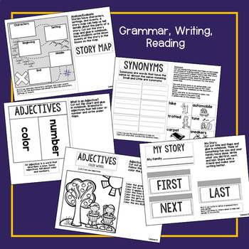 First Grade Interactive Notebook Week 5 Story Map, Short U, Adjectives, Synonyms