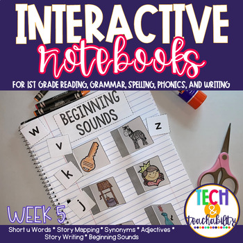 First Grade Interactive Notebook Week 5 Story Map, Short U