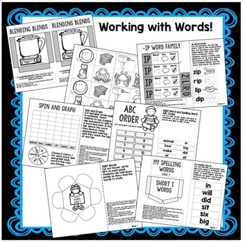 First Grade Interactive Notebook Week 7 Main Idea, Short I, Commas in a Series