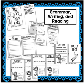 First Grade Interactive Notebook Week 8 Short O, Sequencing, Statements