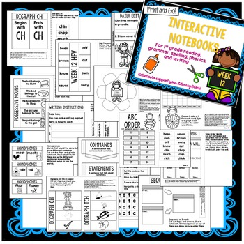 First Grade Interactive Notebook Unit 3 {5 weeks} Reading, Spelling, Grammar