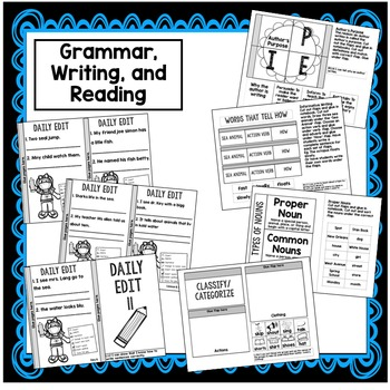 1st Grade Interactive Notebook Week 11 Proper Nouns, Author's Purpose, th words