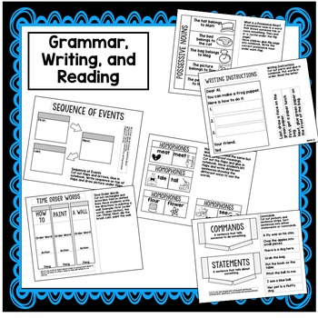 1st Grade Interactive Notebook Week 12 Commands, words with ch, tch, Possessives