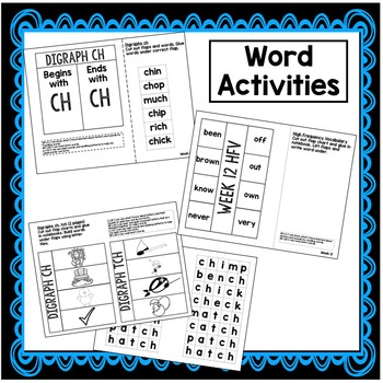 Commands, words with ch, tch, Possessives Interactive Notebook