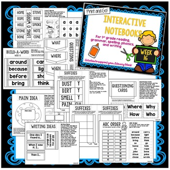 First Grade Interactive Notebook  Unit 4 {5 Weeks} Reading, Spelling, Grammar