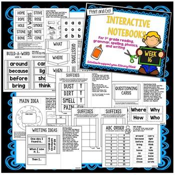 First Grade Interactive Notebook Unit 4 {5 SETS} Reading, Spelling, Grammar