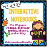 First Grade Interactive Notebook Unit 4 Bundle: Reading, Spelling, Grammar