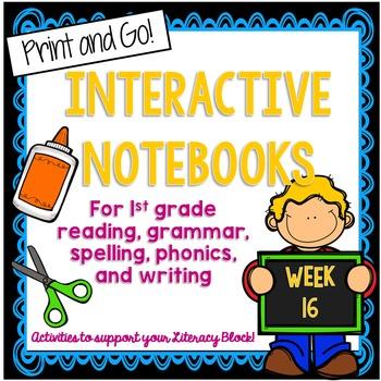First Grade Interactive Notebook Week 16 Long o, Main Idea, Questioning