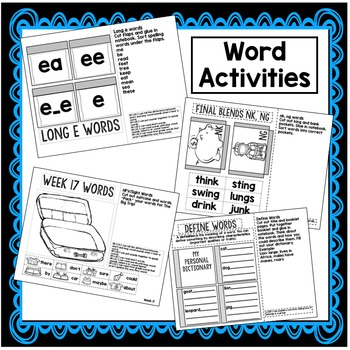 First Grade Interactive Notebook Week 17 Compare, Long E, Dialogue
