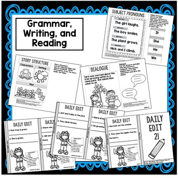 First Grade Interactive Notebook Week 21 Story Structure, AR Words, Pronouns