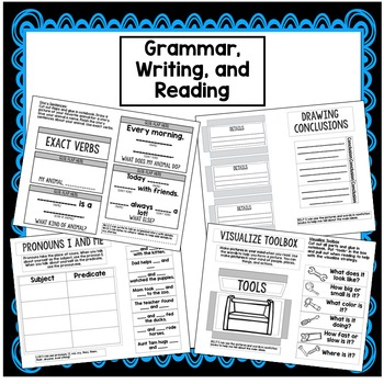 First Grade Interactive Notebook Week 22 Drawing Conclusions,ER,IR,UR, Pronouns