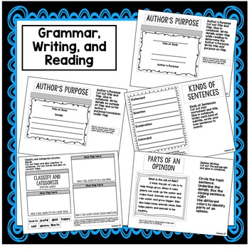 Author's Purpose, -er, -est, Sentences Interactive Notebook