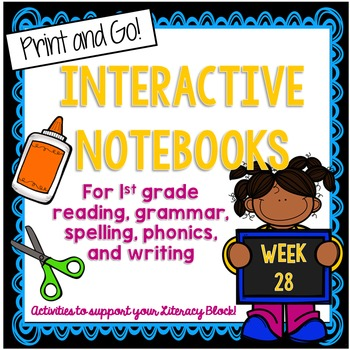 First Grade Interactive Notebook Week 28 Story Structure, Opinion, igh, ie, y