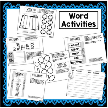 First Grade Interactive Notebook Week 30 Main Idea, Syllables, Opinions