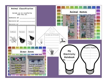 First Grade Interactive Science Notebook: Core Knowledge Foldables