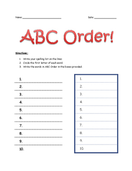First Grade Introduction to ABC Order