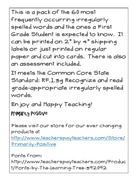 First Grade Irregularly Spelled Words Card Pack and Assessment