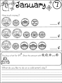 First Grade January/winter Math and Literacy worksheets