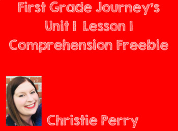 """First Grade Journey's Comprehension Test """"What is a Pal?"""""""