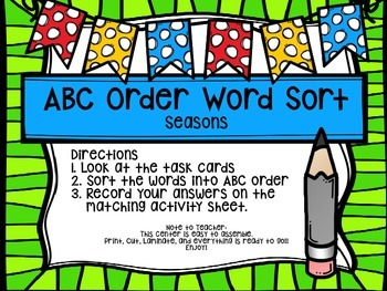 First Grade Journey's Spelling Centers & Activities (Story: Seasons)