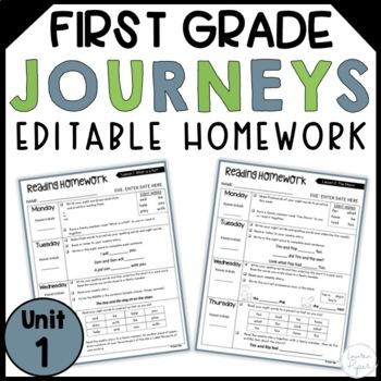 First Grade Journeys Editable Weekly Homework: Unit 1