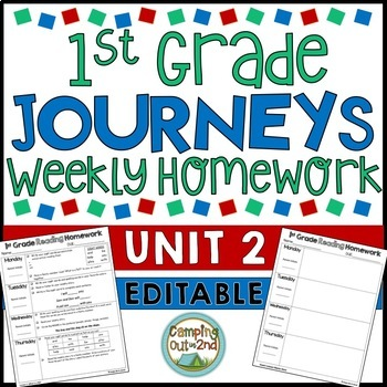 First Grade Journeys Editable Weekly Homework: Unit 2