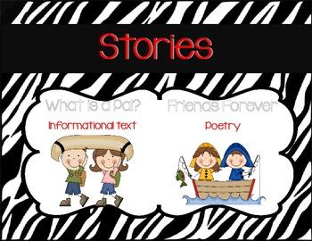 First Grade Journeys Focus Wall Zebra Theme