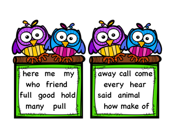 First Grade Journeys High Frequency Word Fluency Cards