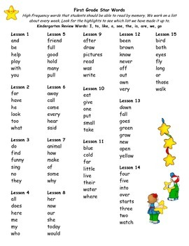 First Grade Journeys High Frequency Word List