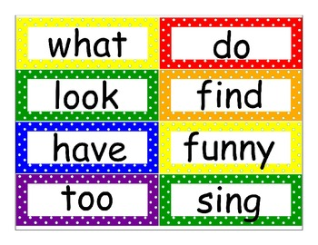 First Grade Journeys High Frequency Word Wall (Rainbow Polka Dot)
