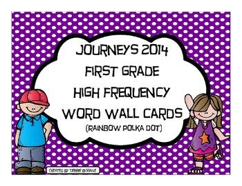 First Grade Journeys High Frequency Word Wall (Rainbow Polka Dot)
