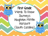First Grade Journey's (Houghton Mifflin Harcourt) Words to Know Vocabulary