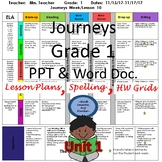 First Grade Journeys Lesson Plans Unit 1 with spelling- AL