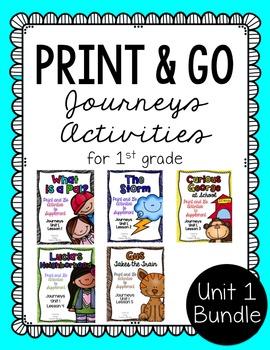 First Grade Journeys Print and Go Unit 1 Bundle