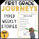 First Grade Journeys Reading Fluency Passages- Unit 1 Typed Stories