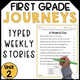 First Grade Journeys Reading Fluency Passages- Unit 2 Typed Stories