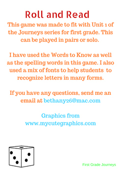First Grade Journeys Unit 1 Roll and Read Game (Lessons 1-5)