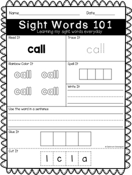 First Grade Journeys Sight Words Unit 2