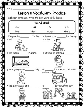First Grade Journeys Unit 3 No-Prep Sight Word Practice Worksheets