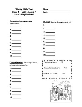 First Grade Journeys Weekly Skills Test Answer Sheets Unit 1