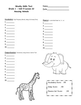First Grade Journeys Weekly Skills Test Answer Sheets Unit 5