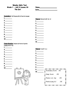 First Grade Journeys Weekly Skills Test Answer Sheets Unit 6