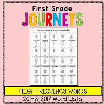 First Grade Journeys Word List - Sight Words or High Frequency Words