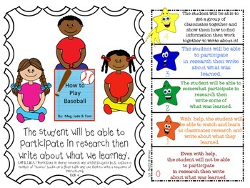 First Grade LAFS WRITING Learning Goals in SWBAT (Student will be able to...)