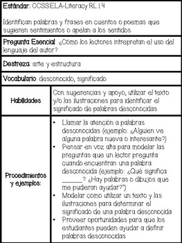 First Grade Language Arts Curriculum Guide in Spanish