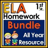 First Grade ELA Homework Bundle with Digital Option for Di